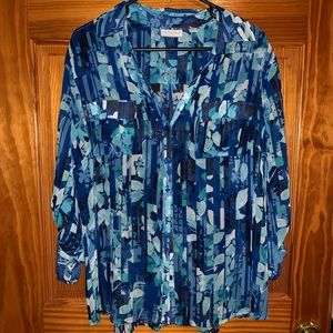 Patterned, blue, button downed blouse